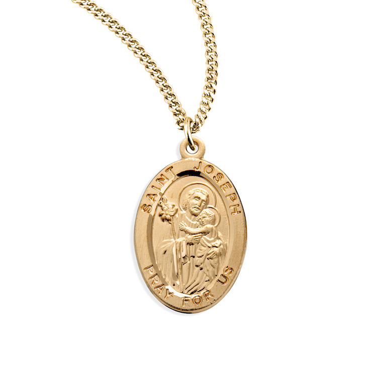 Patron Saint Joseph Oval Gold Over Sterling Silver Medal