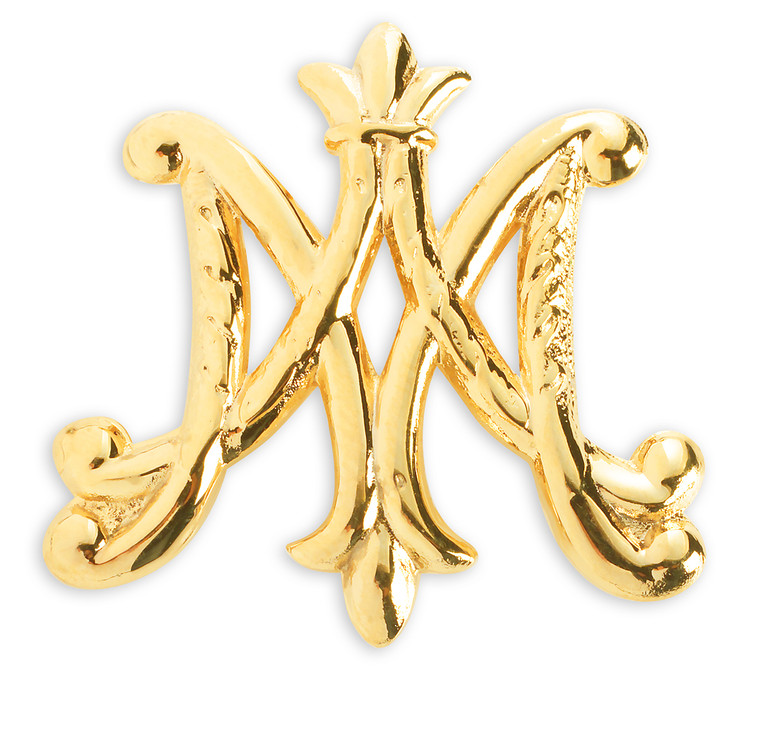 """Gold over Sterling Silver """"Ave Maria"""" Brooch Pin"""