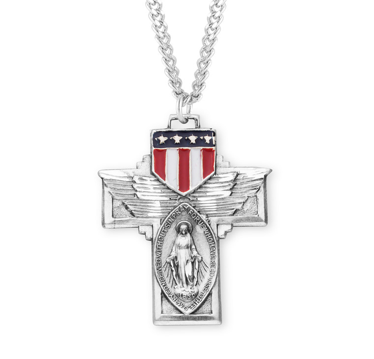 """Military """"Winged"""" Sterling Silver Miraculous Medal"""