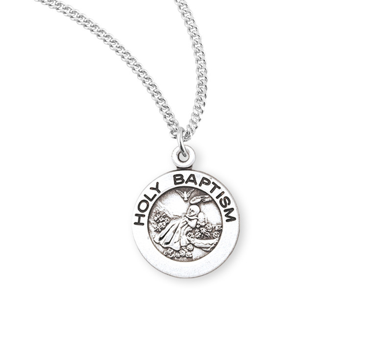 Holy Baptism Round Sterling Silver Medal