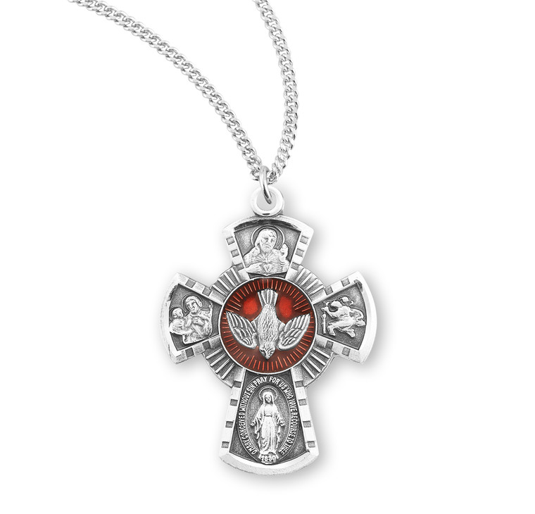 Sterling Silver Red Enameled 4-Way Medal
