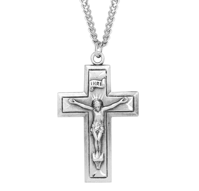 Sterling Silver Engraved Wide Cross Crucifix