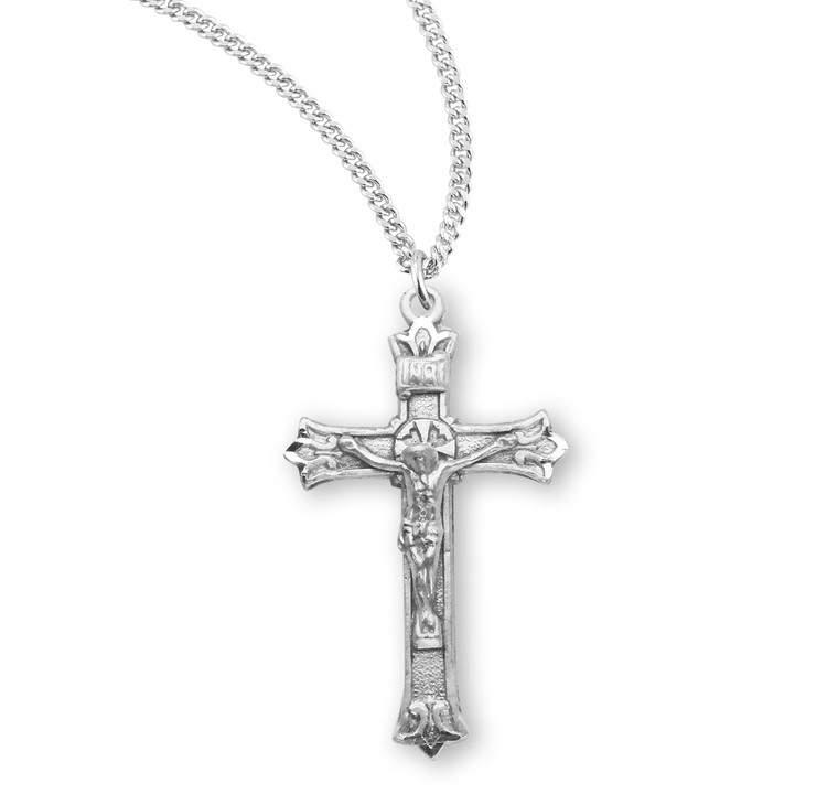 Triple Flare Tip Sterling Silver Crucifix