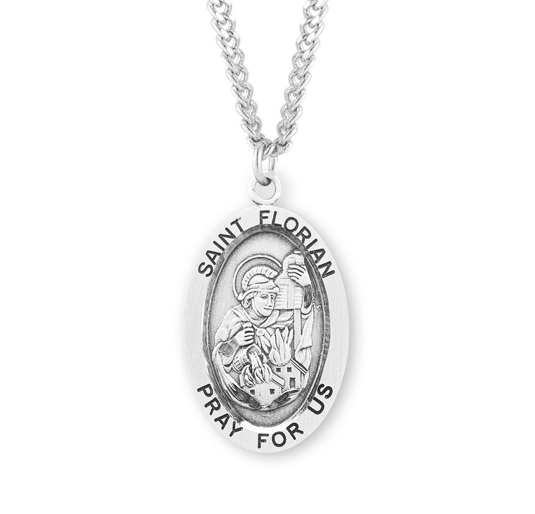 Patron Saint Florian Oval Sterling Silver Medal
