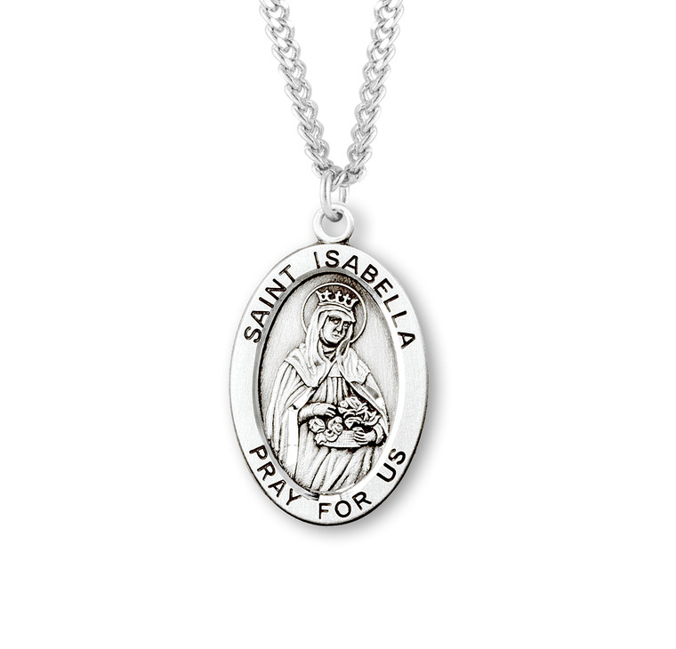 Patron Saint Isabella Oval Sterling Silver Medal