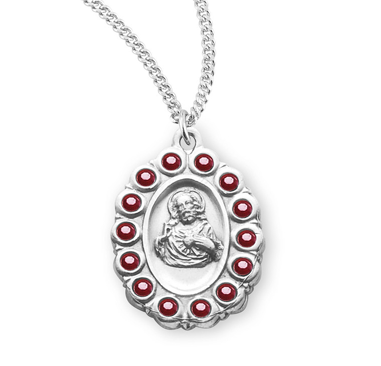 Sterling Silver Scapular Medal Set with Ruby Crystals