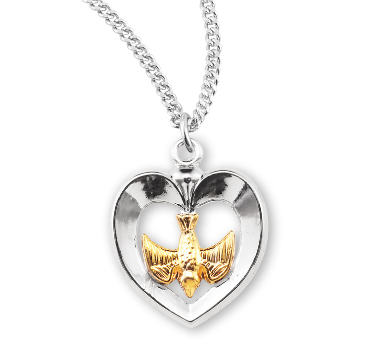 Holy Spirit Two-Tone Sterling Silver Medal