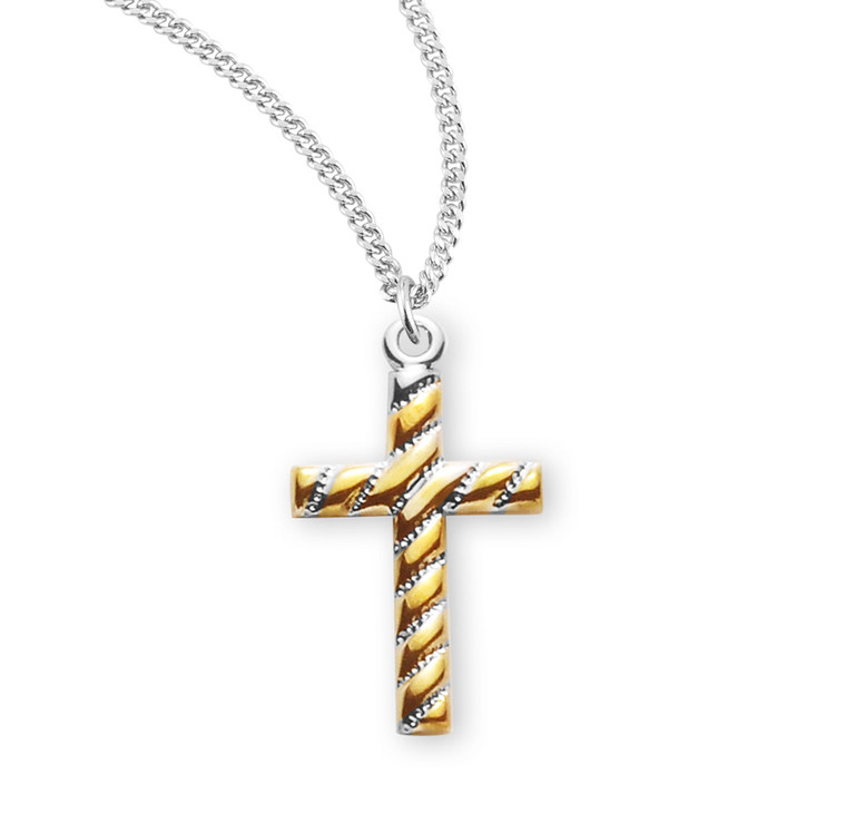 Two Tone Sterling Silver Cross