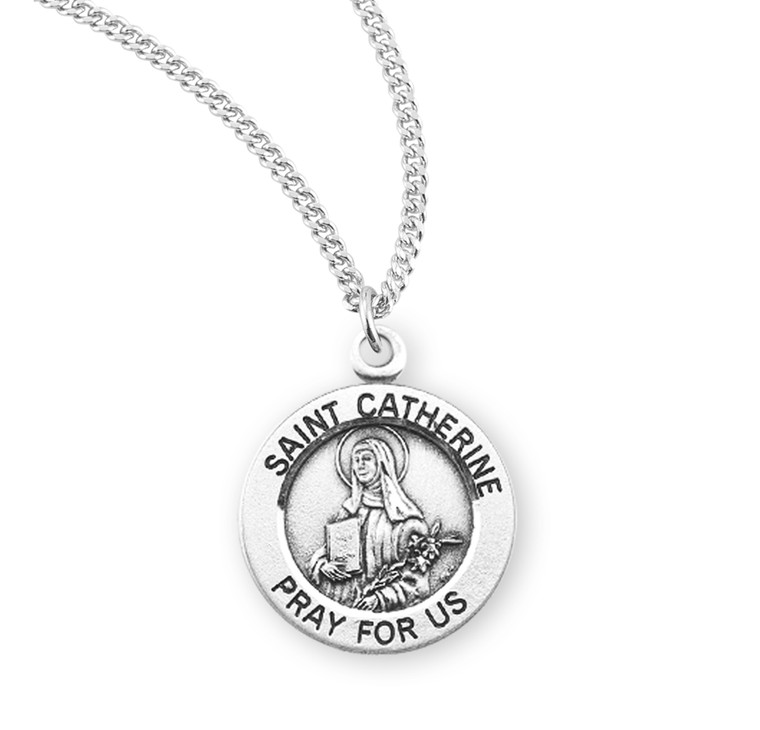 Patron Saint Catherine Round Sterling Silver Medal