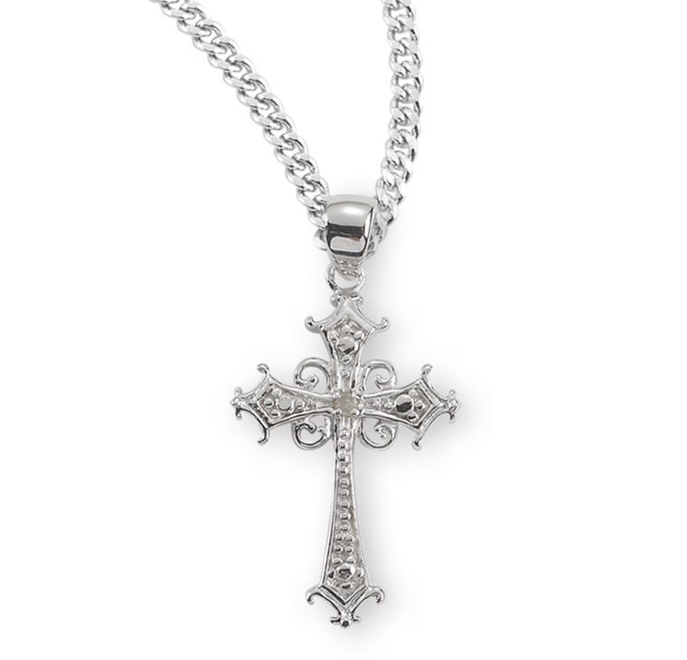 Sterling Silver Cubic Zirconia Cross Boxed