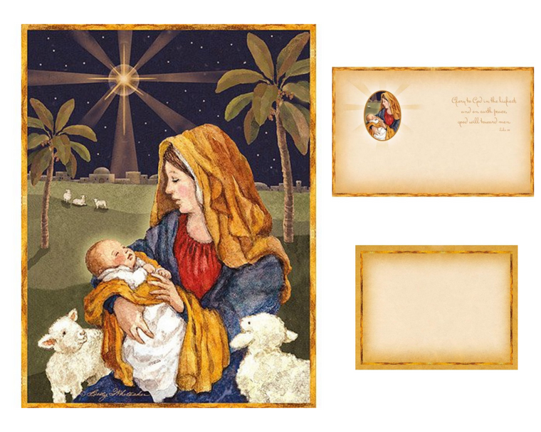 Mother and Child Christmas Boxed Cards ~ Set of 18