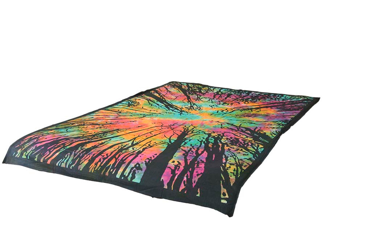 Tie-Dye Tapestry Forest Mandala Wall Tapestry Throw Wall Hangings Hippie Throw