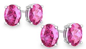 925 Sterling Silver Genuine Pink Sapphire Earrings