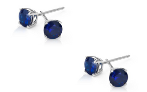 925 Sterling Silver Rhodium Plated 2 CTW Sapphire Earrings
