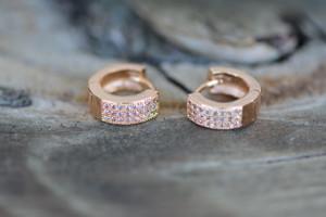 18K Gold Round Tiny Zircon AAA Designer Brass Earrings