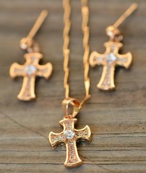 18K Gold White Cross Zircon AAA Designer Women Brass Set