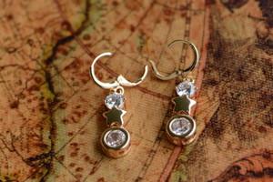 18K Gold Big Zircon AAA Designer Dangle Brass Earrings