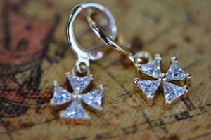 18K Gold Four Leaf Zircon AAA Designer Dangle Brass Earrings