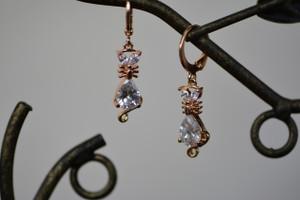 18K Gold Cat Zircon AAA Designer Dangle Brass Earrings