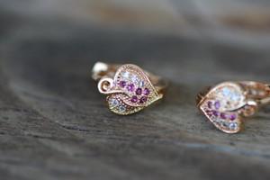 18K Gold Heart Zircon AAA Designer Brass Earrings