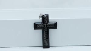 Stainless Steel Black Cross Prayer Pendant Ball Unisex Necklace Chain