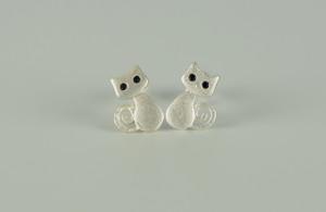 925 Sterling Silver Cute Smily Cat Earrings