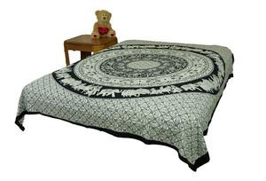 Hippie Black Elephant Mandala Tapestry Bohemian Wall Hanging Throw Decor