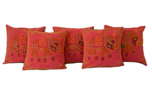 Exotic Kantha Embroidery Elephant Red Cushion Covers Decorative Pillow Case