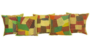 Kantha Multicolored Patchwork Green Cushion Covers Decorative Pillow Case
