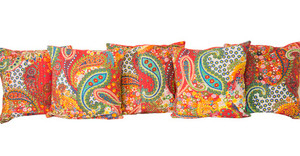 Kantha Embroidered Printed Red Cushion Covers Decorative Pillow Case
