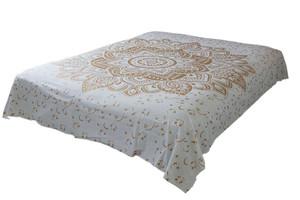 Hippie White Gold Lotus Mandala Tapestry Bohemian Wall Hanging Dorm Decor