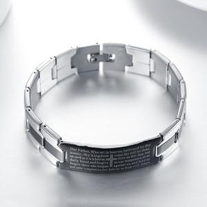Christian Black Silver-Tone English Prayer Jesus Stainless Steel Unisex Bracelet