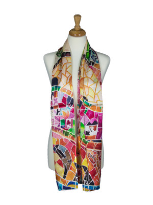 AamiraA Mosaic Designer Soft Mulberry Satin Silk Stole Women Long Scarf