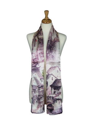 AamiraA Countryside Scenic Soft Mulberry Satin Silk Stole Women Long Scarf