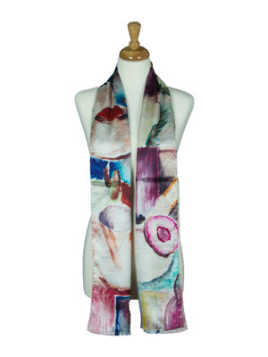 AamiraA Abstract Painting Style Soft Mulberry Satin Silk Stole Women Long Scarf