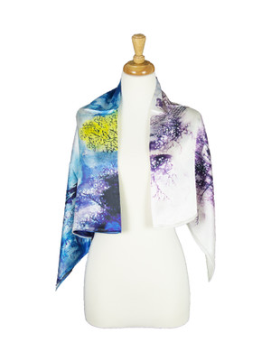 AamiraA Blossom Village Mulberry Satin Silk Stole Women Square Scarf