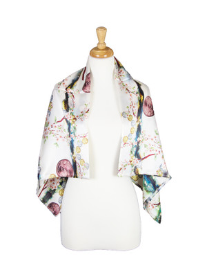 AamiraA Coins Mulberry Satin Silk Stole Women Square Scarf