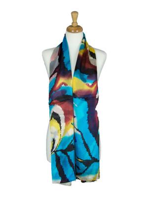 AamiraA Stripes Soft Mulberry Chiffon Silk Stole Women Oblong Scarf