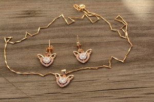 18K Gold Dazzling Heart Zircon AAA Designer Women Brass Set
