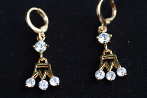 18K Gold Crown Zircon AAA Designer Dangle Brass Earrings