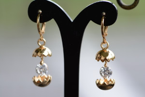 18K Gold Eggshell Zircon AAA Designer Dangle Brass Earrings