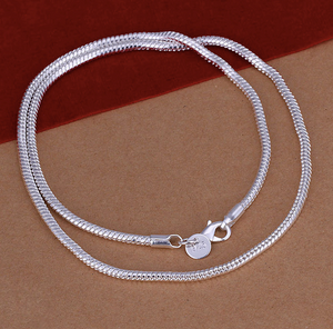 925 Sterling Silver Plated 3mm Snake 22 inch Men Fashion Necklace Chain