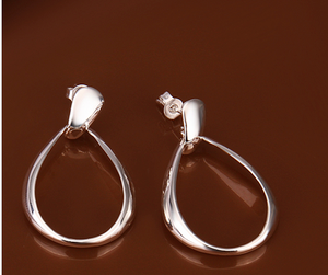 925 Sterling Silver Plated Hollow Waterdrop Earrings