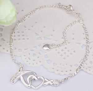 925 Sterling Silver Love Statement 11.5 inch Solid Anklet Women Bracelet