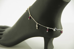 925 Sterling Silver Pink Charm 10 inch Solid Anklet Expandable Women Bracelet