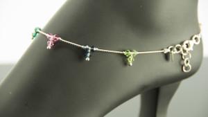 925 Sterling Silver Trio Multicolor Bead 11.5 inch Solid Anklet Women Bracelet