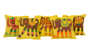 Kantha Patchwork Elephant Yellow Cushion Covers Decorative Pillow Case