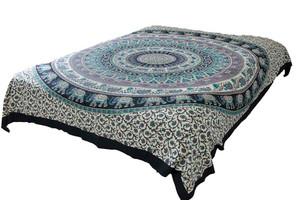 Hippie Black Blue Mandala Tapestry Bohemian Wall Hanging Throw Dorm Decor