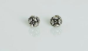 AamiraA 925 Sterling Silver Layer Flower Antique Look Stud Earrings