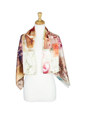 AamiraA Face Painting Mulberry Satin Silk Stole Women Square Scarf